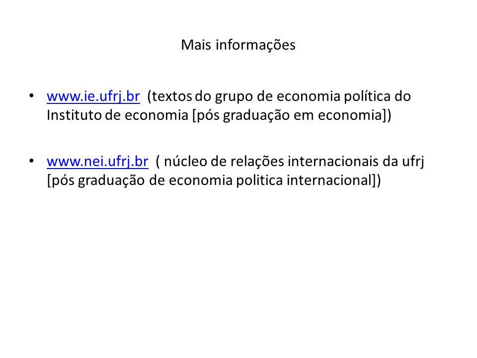 Mais informações www.ie.ufrj.br (textos do grupo de economia política do Instituto de economia [pós graduação em economia])
